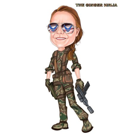 Full Body Military Portrait Cartoon from Photos in Colored Style - example