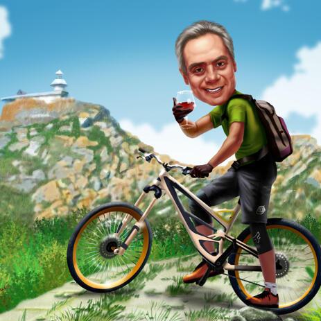 Mand på cykel - Karikatur i farvet digital stil - example