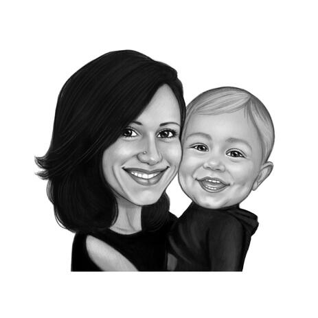 Tender Hugs of Mother and Child Caricature Hand Drawn in Black and White Style - example