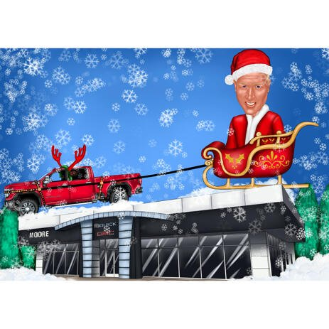 Christmas Caricature of Person in Santa's Sleigh - example