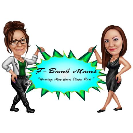 Business Owners with Company Logo Caricature from Photos - example