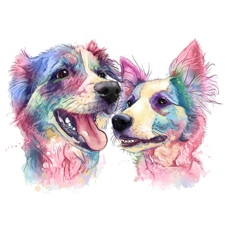 Two Dogs in Head and Shoulders Pastel Watercolor Portrait Painting Style from Photos - example