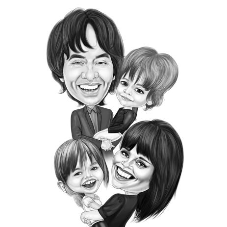 High Exaggerated Four Family Members Caricature in Black and White Style for Family Gift - example
