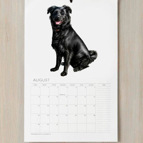 Dog Caricature Printed on Calendar - example