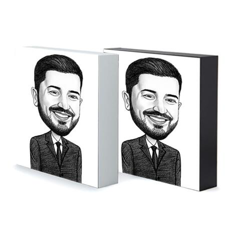 Business Caricature on Photo Block - example