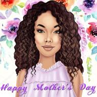 Mother's Day Cartoon in Colored Digital Style with Flowers Background
