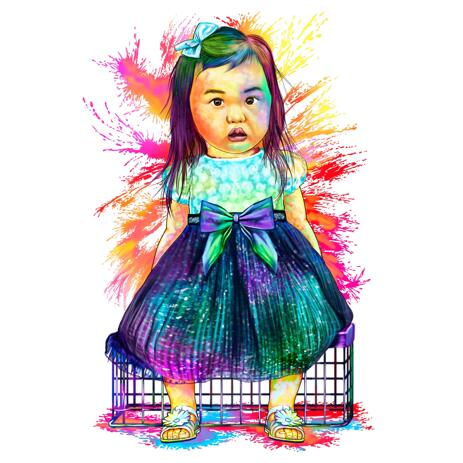 Watercolor Kid Portrait from Photos in Full Body - example
