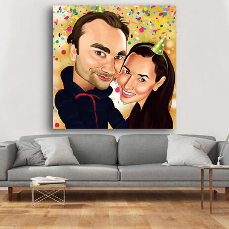 Hand Drawn Couple Caricature for Custom Birthday Gift Printed on Canvas - example