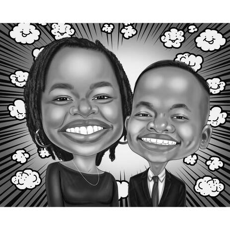 High Exaggerated Mother and Son Caricature in Black and White Style from Photos - example