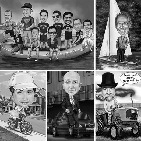 Full Body Black and White Caricature with Any Vehicle and Personalized Background - example