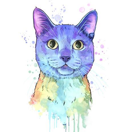Pastel Watercolour Cat Portrait from Photos - example