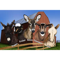 Farm Pets Group Caricature with Bard Background