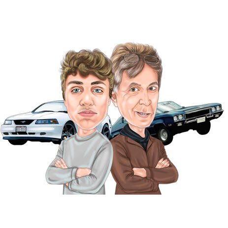 Zwei-Personen-Autobesitzer-Karikatur-Karikatur von den Fotos im farbigen Stil - example