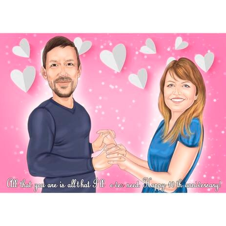 Anniversary Couple Cartoon from Photos with Romantic Background - example