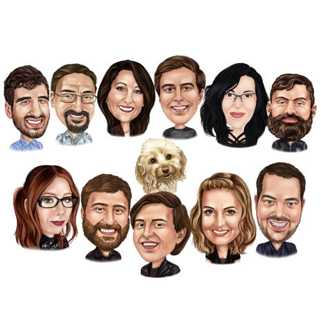 Custom Group with Dog Caricature Hand Drawn from Photos - example