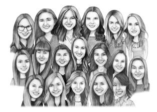 Black and White Group Caricature from Photos