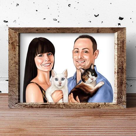 Familie mit Haustierkarikatur auf Plakat - example