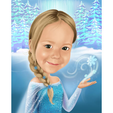 Kid Animated Elsa Caricature Portrait from Photos with Custom Background for Frozen Fans - example