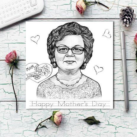 Fotodruck von Zeichnung: Benutzerdefinierte Bleistifte Cartoon Portrait Zeichnung aus Foto - example