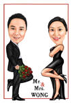 Mr. & Mrs. Couple Caricature example 4