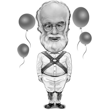 Full Body Exaggerated Caricature Gift for Grandpa Birthday in Black and White Style - example
