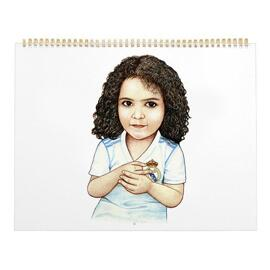Kid Caricature Drawing Printed as Calendar