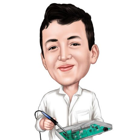 Electrical Engineer Caricature Portrait from Photo for Electrician Gift - example