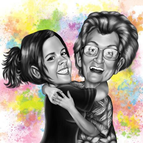 Happy Grandma with Kid Cartoon Painting in Black and White Style with Colored Background - example