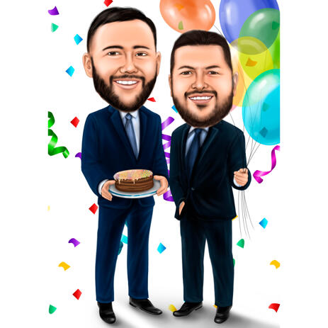 Best Friends Colored Full Body Caricature Drawing for Custom Friendship Gift - example