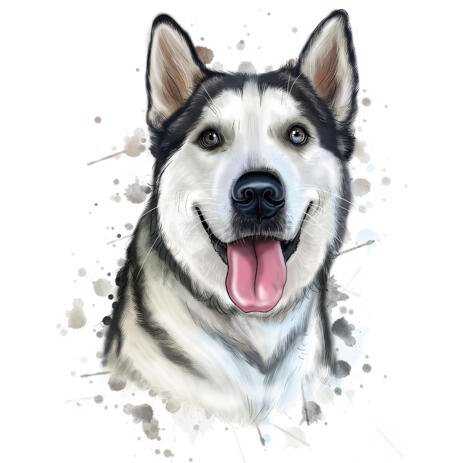 Friendly Siberian Husky Dog Cartoon Portrait in Watercolor Natural Style - example
