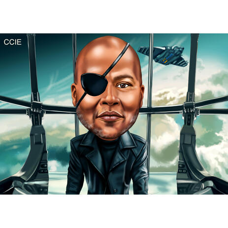 Superhero Caricature for Nick Fury Fans - example