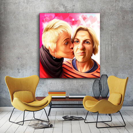 Kiss on the Cheek Caricature Drawing on Canvas - example