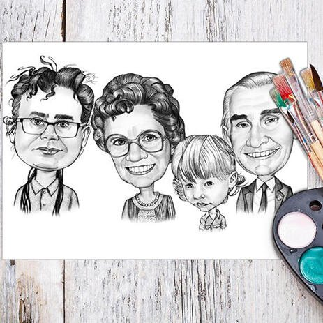 Family Cartoon Portrait in Black and White Style from Photos Printed on Poster as Custom Gift - example
