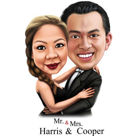 Caricature for Mr. & Mrs. - Anniversary or Wedding Gift for Passioned Couple - example