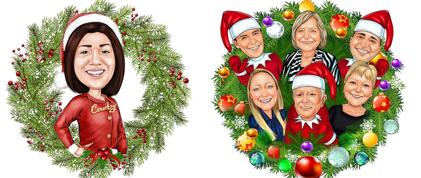 Christmas Wreath Caricature