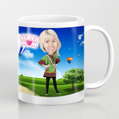 Woman Cartoon Portrait in Full Body Colored Style with Background on Mug Print - example