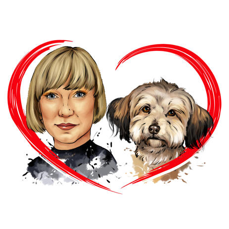 Owner with Pet Watercolor Portrait in Natural Shades with Red Heart - example