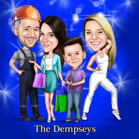Family Construction Owner Caricature Gift from Photos with Colored Background - example