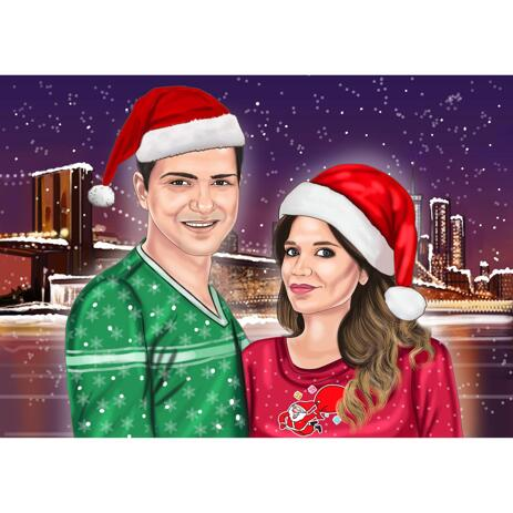 Christmas Couple Portrait from Photos with Custom Background - example
