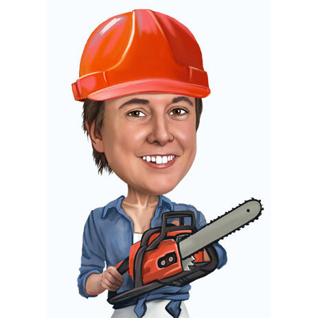 Construction Worker Caricature with Tool - example
