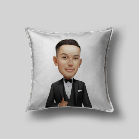 Custom Groom Drawing from Photos as Pillow - example