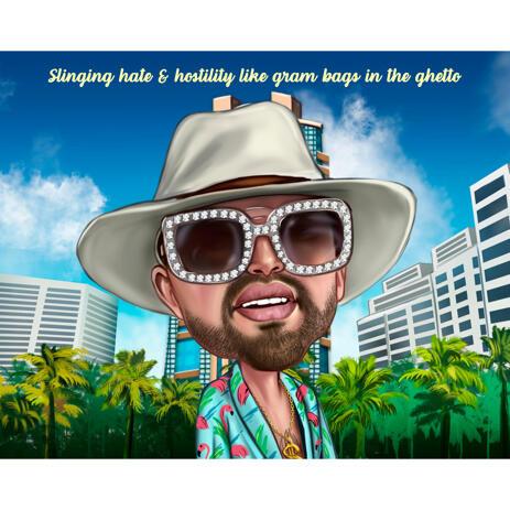 Man in Miami Caricature Cartoon Portrait from Photos - example