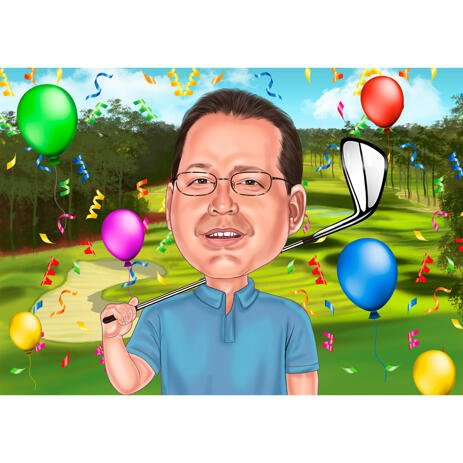 Golfer Birthday Caricature Cartoon from Photos - Gift for Him - example