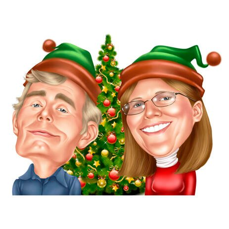 Exaggerated Couple Christmas Caricature with Christmas Tree - example