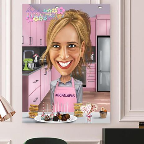 طباعة على قماش: رسم كارتون عيد الأم الرقمي الملون من الصور - example