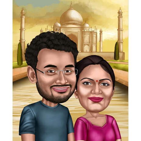 Indian Couple Caricature Gift with Taj Mahal Background from Photos - example