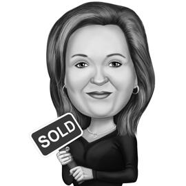 Realtor Caricature in Black and White Style