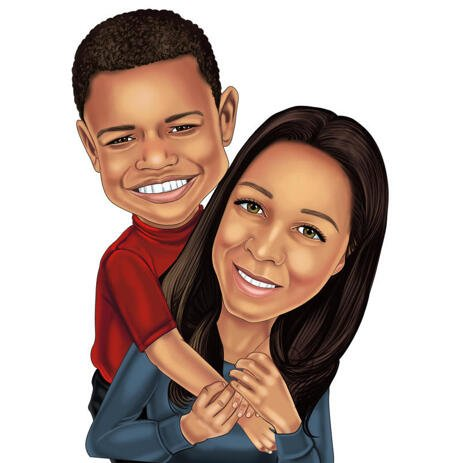 Mother with Son Cartoon Portrait from Photos for Custom Mother's Day Gift - example