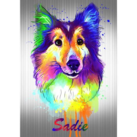 Border Collie Cartoon Portrait from Photos in Watercolor Style with Colored Background - example