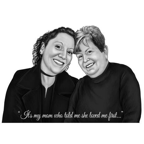 Mother with Daughter Portrait - Custom Gift from Mothers - example